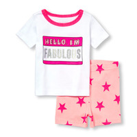 Baby And Toddler Girls Glitter 'Hello I'm Fabulous' Nametag Top And Star Print Shorts PJ Set | The Children's Place