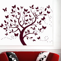 Wall Decal Tree Silhouette With Branches Butterfly Art Wall Decals For Kids Playroom Nursery Bedroom Children Baby Room Home Decor MR722