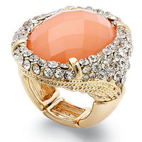 INC International Concepts Ring, 14k Gold-Plated Coral Oval Stone Pave Cocktail Ring - All Fashion Jewelry - Jewelry & Watches - Macy's