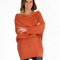 Casual Night Out Orange Fold Over Ribbed Sweater