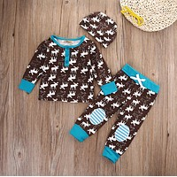 3pcs Outfits Set Newborn Baby Girls Boys Clothes Sets Long Sleeve Tops Warm Cotton Cute Animals T-shirt Pants Hat XMAS Clothing