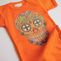 Hippie Baby Clothes Orange Festival Summer Bodysuit newborn, 3, 6 9 12 months boy girl Rockabilly Baby Shower gift Cute trendy kid outfit
