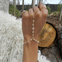 14kt Gold Filled Hand Chain, Crystal Clear, Slave Bracelet, Dainty Bracelet, Unique Bracelet, Ring Chain, Fashion Jewelry, Handmade Jewelry