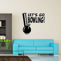 Wall Vinyl Marihuana Weed Lets Go Bowling Smoking Unique Gift (z3394)