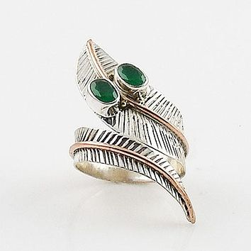 Emerlad Two Tone Sterling Silver Adjustable Wrap Ring