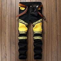 2017 BP New Fashion Men Ripped Designer Jeans Pants Slim Fit Knee Zipper Stitching Jeans Men Club Wear Bright Color Denim Jogger