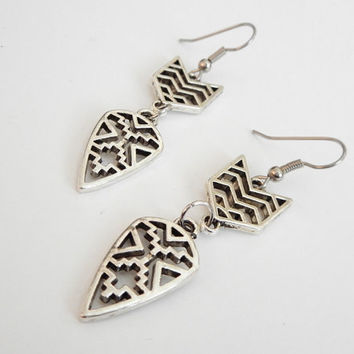 Tribal Earrings - Aztec Earrings - Mayan Earrings - American Indian Design  Handmade Sterling Silver Ear wires