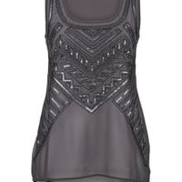 Sequin And Bead Embellished Chiffon Tank - Gray