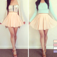 Pastel Chiffon Mini Skirt