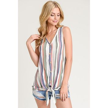 Water Color Striped Tie Top - Orange and Olive