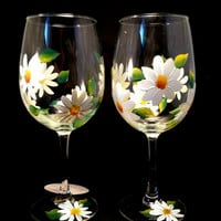 Hand Painted Wine Glasses, White Daisies