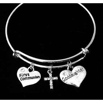Goddaughters First Communion Gift Crystal Cross Expandable Charm Bracelet Adjustable Wire Bangle One Size Fits All