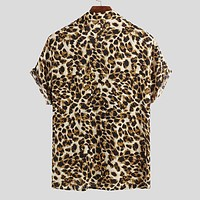 Short Sleeve Leopard Print Shirt Men Lapel Neck Loose Button Up Blouse Breathable Streetwear Sexy Shirts Men Incerun