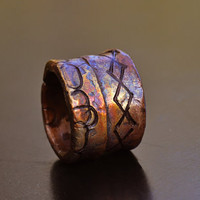 Fun X & O Copper Ring Band, Heat Colored Copper Ring Band, Stamped Design, 2 mm Thick, Rugged Wide Band Ring