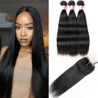 Brazilian Straight Hair Cheap 100% Human Hair Bundles With Closure Middle Part 3/4 Bundles With Closure Remy Hair Extensions