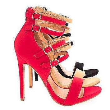 Antonia By Shoe Republic, Strappy Sandal With Buckles Zipper High Heel
