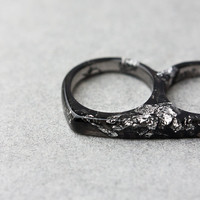 Two Finger Black Resin Ring Silver Flakes Double Ring OOAK gothic geometric modern minimalist resin jewelry