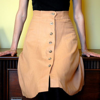1970s Vintage Skirt Women's Retro College Town Tan Beige Button Up Wool Perfect for Autumn