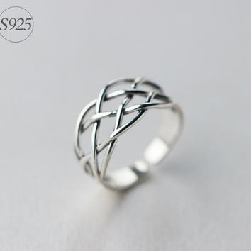 925 Sterling Silver opening ring,retro adjustable silver knitting ring, simple black heartring,a perfect gift