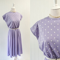 1970s vintage lilac & white polka dot dress draped jersey knit // cap sleeves boho preppy lavender purple // size XL