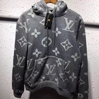 Louis Vuitton Women/Men Fashion Gray Pullover Sweater Sweatshirt Hoodie Tagre™