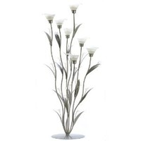 Gifts & Decor Silver Calla Lily Bunch Tealight Candle Holder Art Deco