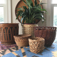 Assorted Medium Woven Wicker Planters, Boho Rattan Plant Basket Collection, Set of 5 Planter Baskets