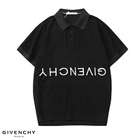 Givenchy Fashion New Embroidery Anti- Letter Lapel Sports Leisure Women Men Top T-Shirt Black