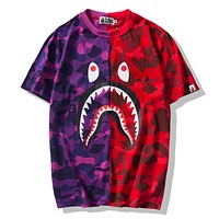 Bape Aape Summer Fashion New Bust Shark Print Women Men Contrast Color Splice Top T-Shirt
