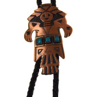 """Solid Copper Turquoise Leather Bolo Tie Southwest Design Kachina 34"""" Bell Craft"""
