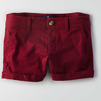AEO Twill Midi Short, Summer Burgundy