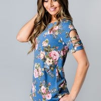 Floral Modest Cut Out Top