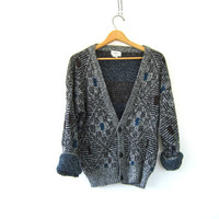 Vintage 1980s abstract Gray and black Speckled Button Up. retro Sweater Cardigan Unisex Hipster grunge