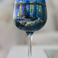 Van Gogh Inspired Hand Painted Wine Glass Featuring The Starry Night Over the Rhone