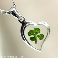 REAL CLOVER FOUR-LEAF SHAMROCK IRISH LUCK HEART SAINT PATRICK CELTIC CHARM SILVER PENDANT CHAIN NECKLACE