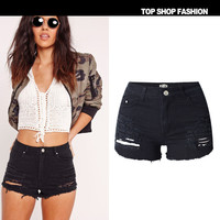 Women's Fashion Hot Sale High Waist Stretch Denim Plus Size Shorts [10734939791]