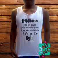 Harry Potter Quotes Happiness Can be Found Even in The Darkest of Times If One Remembers Men's White Cotton Solid Tank Top
