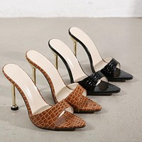 2021 new super high-heel metal heeled fish mouth snake print semi sandals and slippers shoes