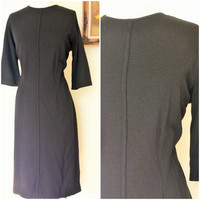 Vintage 1950s Little Black Dress / Large Size Vintage / 50s Wool Dress