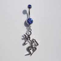 Browning Titanium Anodized Silver With Royal Blue Rhinestone With Heart & Sexy Deer Mate Belly Navel Ring Jewelry
