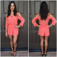 Sun Bathe Off Shoulder Romper - Coral