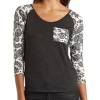 Paisley Print Baseball Tee by Charlotte Russe - Ivory Combo