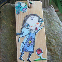 """Wood, decoupage pendant decorated with Sunny Carvalho's """"Lucy Loves Life"""" Art stamps"""