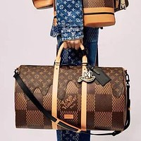 Louis Vuitton LV New Women Men Classic Leather Large Capacity Luggage Travel Bags Tote Handbag Crossbody Satchel
