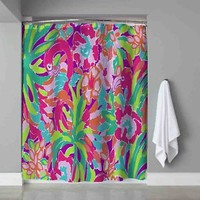"""Lilly Pulitzer Floral Pink Flamingo Design Shower Curtain 60"""" x 72"""" Print On"""