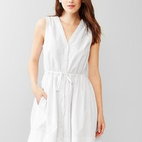 Gap Women Dobby Fit & Flare Shirtdress