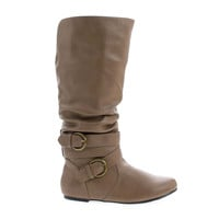 Kalisa94P Taupe Pu By Wild Diva, Mid Calf Internal Cell Phone Pouch Ankle Buckles Slouchy Boots