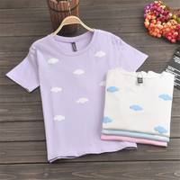 Cotton 2016 Summer Kawaii Student Printing Tee Women Cute Pink Clouds Harajuku T Shirts Young Ladies Lovely Tops 3SHWT031