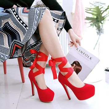 Cross Straps Platform Pumps High Heels Party Shoes 1740