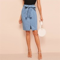 Slit Front Belted Denim Skirt Women Summer Casual Fashion Shift Skirts Blue Solid Zipper Korean Style Skirts